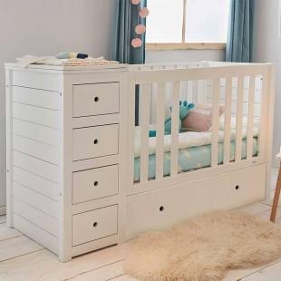 Lit bébé Combiné 3 en 1 blanc en pin massif (commode + lit + tiroirs)