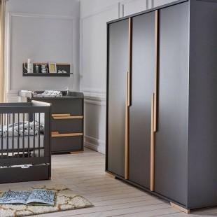 Armoire 3 portes noire collection Snap