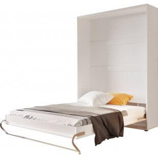 Lit armoire escamotable vertical - blanc mat