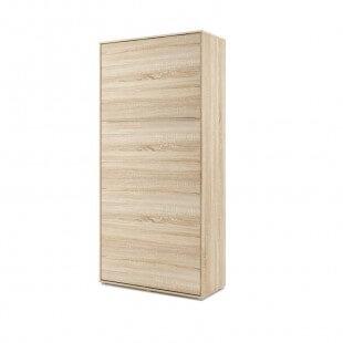 Lit armoire escamotable vertical - chêne 90x200