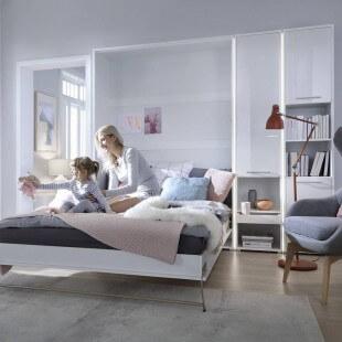 Rangement blanc brillant pour lit escamotable avec LED