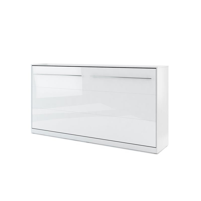 Lit armoire escamotable horizontall - blanc brillant 90x200
