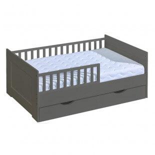 Mon premier lit junior 70x160cm graphite pour chambre enfant