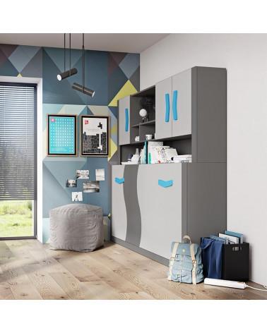 Lit escamotable Boomerang bleu dans une chambre enfant