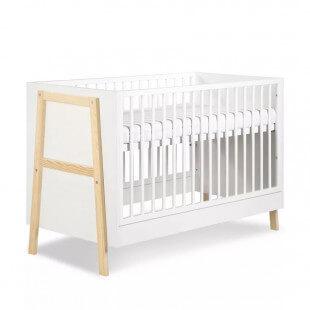Lit bébé scandinave 120x60 Hugo blanc et bois