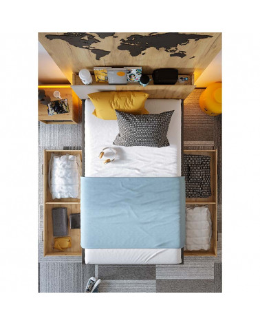 Lit double Qubic 120x200cm avec tiroirs ouverts vu du dessus