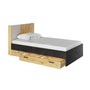 Lit double Qubic 120x200cm avec tiroir ouvert