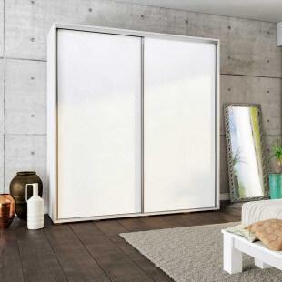 Armoire coulissante largeur 205cm avec façade blanc