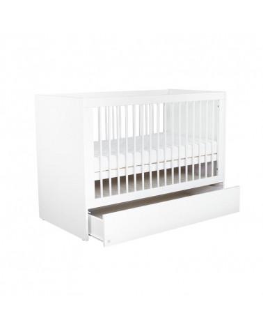 Lit bébé 120x60 LIO blanc avec tiroir de rangement ouvert