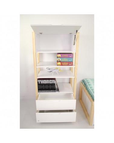 Bibliothèque blanche et pin FRAMA pour chambre enfant