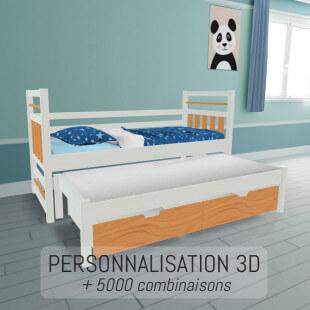 Lit gigogne entièrement personnalisable et sur-mesure en 3D