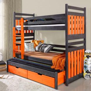 Lit enfant superposé SAMBOR avec lit gigogne - 3 couchages