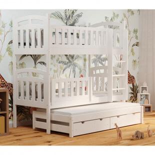 Lit superposé PILOU 3 couchages blanc avec barrière amovible pour chambre enfant