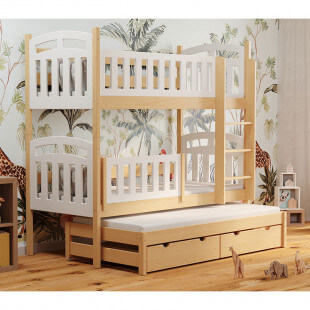 Lit superposé PILOU 3 couchages blanc et bois style scandinave avec barrière amovible