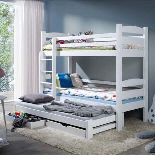 Lit enfant superposé 3 couchages SEVERINE en pin massif couleur blanc