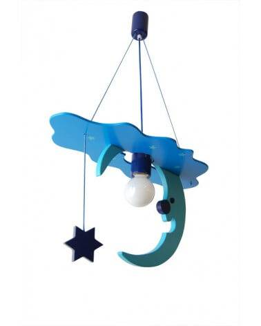 Luminaire Lune Turquoise et Bleu