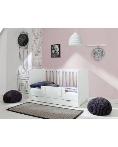 Chambre avec Lit banquette Moon 140 x 70 cm et barrière