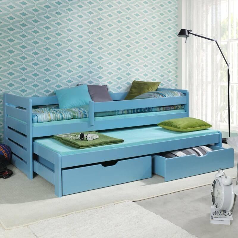 Lit gigogne bleu Thomas II avec barrières anti-chute pour chambre enfant