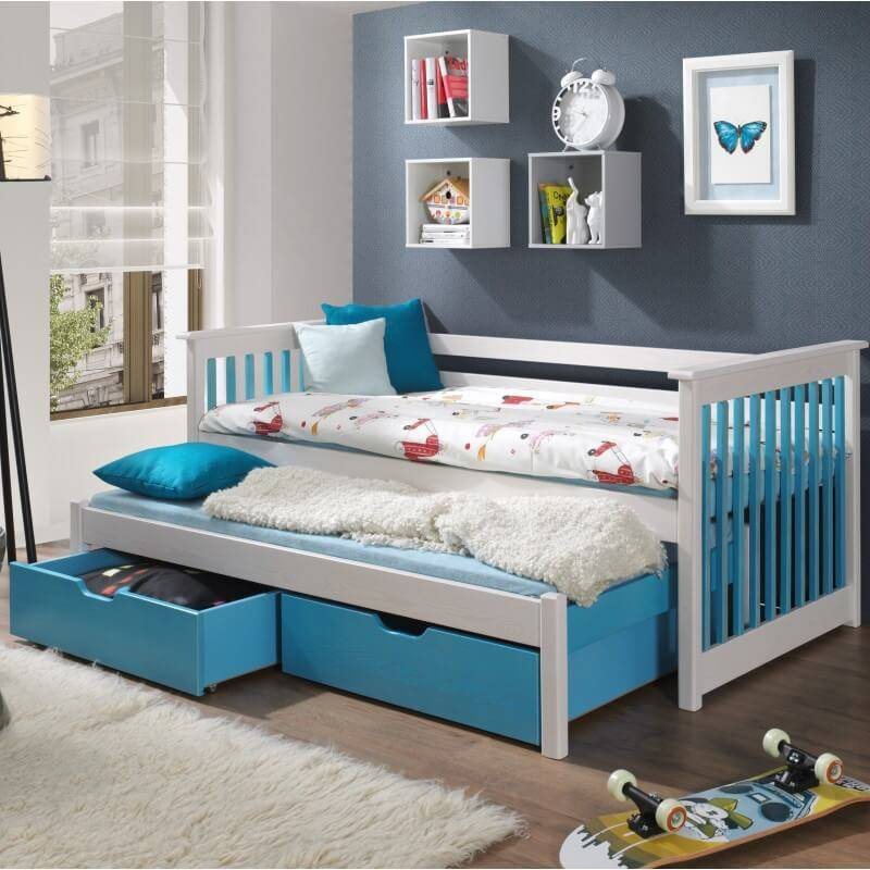 Lit gigogne Sirius blanc et bleu pour chambre enfant